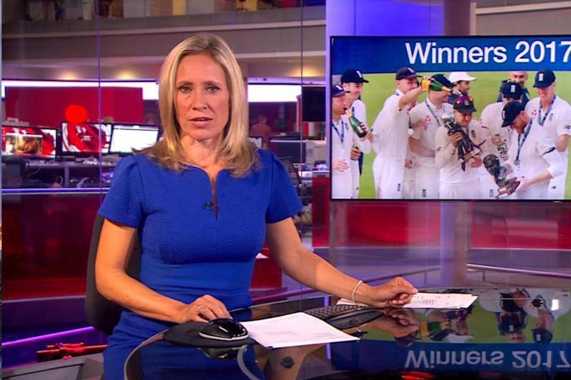 Live broadcast: The saucy footage appeared as Sophie Raworth read the headlines (BBC iPlayer)