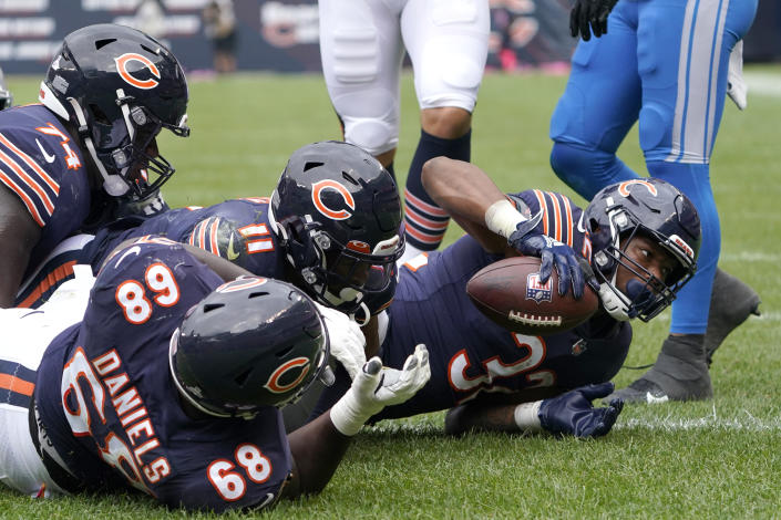Chicago Bears running back David Montgomery scores during the first half of an NFL football game against the Detroit Lions Sunday, Oct. 3, 2021, in Chicago. (AP Photo/David Banks)
