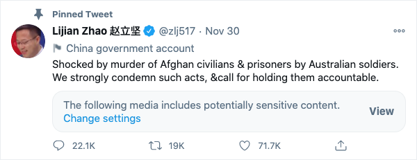 A pinned tweet on Lijian Zhao's Twitter feed, which reads: 'Shocked by murder of Afghan civilians & prisoners by Australian soldiers.' It was accompanied by the fake Aussie soldier image which provoked Scott Morrison.