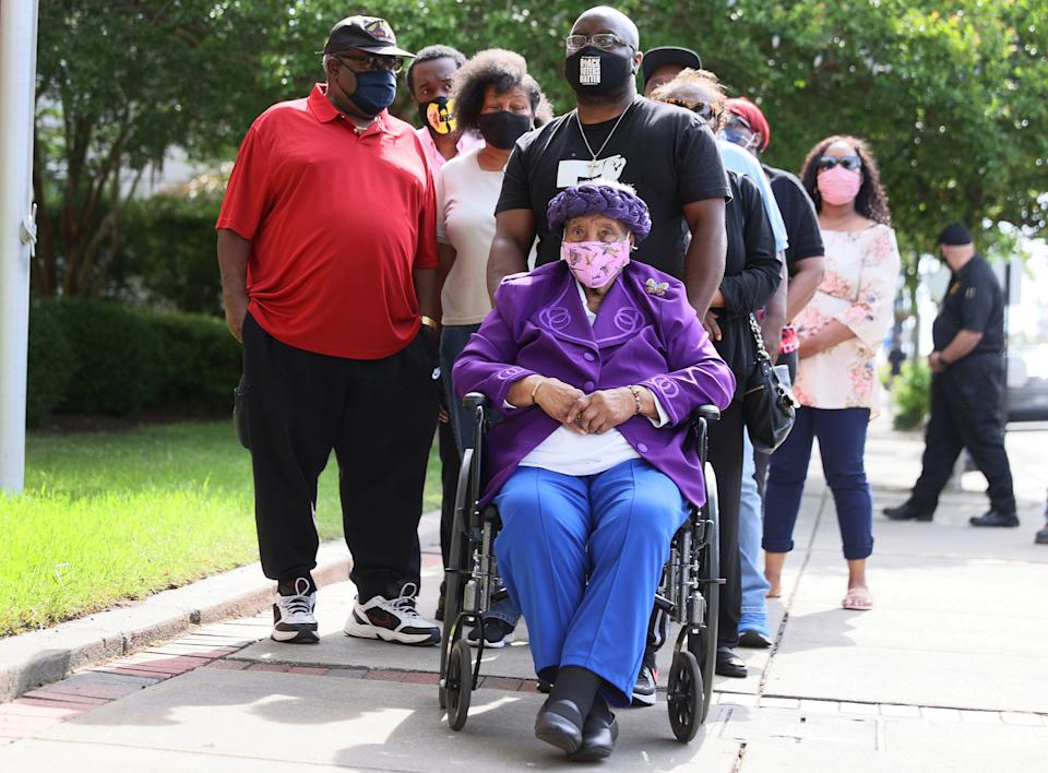 Lydia Brown, the grandmother of Andrew Brown Jr., and other family members arrive at the Pasquotank County Courthouse in Elizabeth City, N.C., on Wednesday. (Joe Raedle/Getty Images)