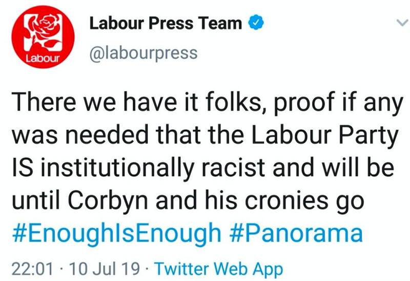 A now-deleted tweet sent out by the Labour press team after the programme aired (PA)