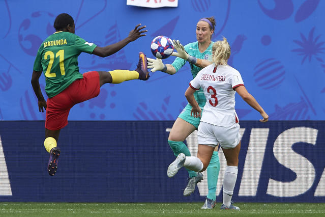 Alexandra Takounda of Cameroon in action during the 2019 FIFA Women's World Cup France Round Of 16 match between England and Cameroon at Stade du Hainaut on June 23, 2019 in Valenciennes, France. (Photo by Quality Sport Images/Getty Images)