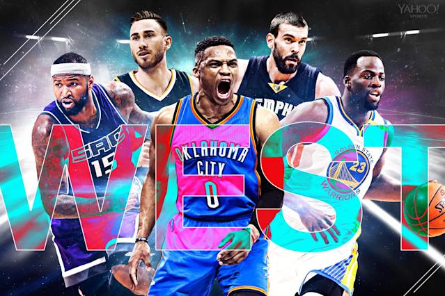 Ball Don't Lie's five unanimous picks for Western Conference All-Star reserves: DeMarcus Cousins, Gordon Hayward, Russell Westbrook, Marc Gasol and Draymond Green. (Yahoo Sports Illustration)