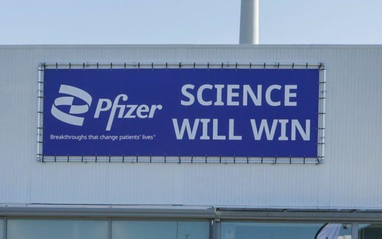 The logo at a Pfizer factory in Belgium, one of the countries in which the new treatment ids being developed - Stephanie Lecocq/Pool via Reuters