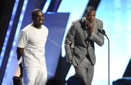 Kanye West and Jay-Z accept the award for best group at the 2012 BET Awards in Los Angeles