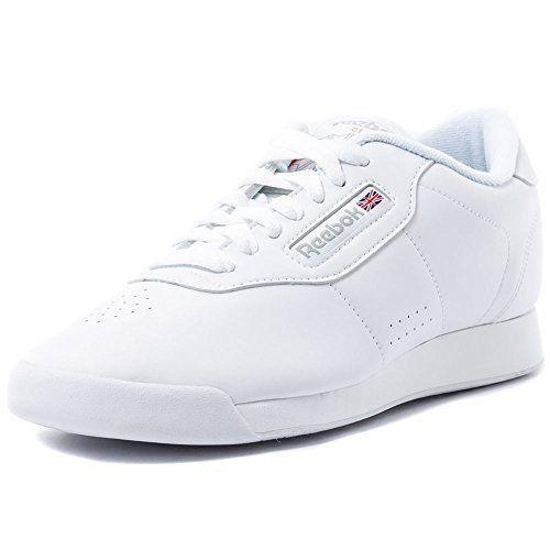 "<p><strong>Reebok</strong></p><p>amazon.com</p><p><strong>$37.50</strong></p><p><a href=""https://www.amazon.com/dp/B000AOZKBU?tag=syn-yahoo-20&ascsubtag=%5Bartid%7C10055.g.36201118%5Bsrc%7Cyahoo-us"" rel=""nofollow noopener"" target=""_blank"" data-ylk=""slk:Shop Now"" class=""link rapid-noclick-resp"">Shop Now</a></p><p>With <strong>over 13,000 rave reviews on Amazon</strong> and tons of other reviews online, the Reebok Princess Aerobics shoes are definitely one of the better known white sneakers on the market. There's a synthetic leather upper and an EVA midsole for excellent support. </p>"