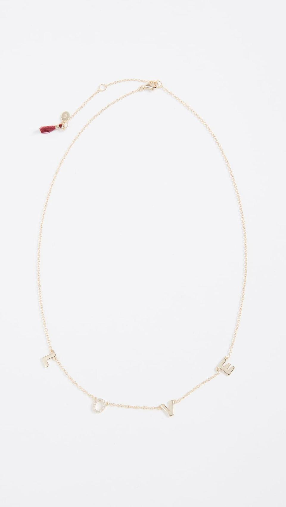 "<p>Show someone you care with this <a href=""https://www.popsugar.com/buy/Shashi-Love-Necklace-532937?p_name=Shashi%20Love%20Necklace&retailer=shopbop.com&pid=532937&price=65&evar1=fab%3Aus&evar9=36291197&evar98=https%3A%2F%2Fwww.popsugar.com%2Ffashion%2Fphoto-gallery%2F36291197%2Fimage%2F47027883%2FShashi-Love-Necklace&list1=shopping%2Choliday%2Cwinter%2Cgift%20guide%2Cwinter%20fashion%2Choliday%20fashion%2Cfashion%20gifts&prop13=api&pdata=1"" rel=""nofollow noopener"" class=""link rapid-noclick-resp"" target=""_blank"" data-ylk=""slk:Shashi Love Necklace"">Shashi Love Necklace</a> ($65).</p>"