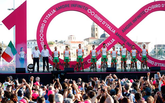 <span>Nine Bardiani-CSF riders turned up for the presentation on Thursday, but only seven will start the Giro d'Italia when it gets under way in Sardinia on Friday</span> <span>Credit: Getty Images </span>
