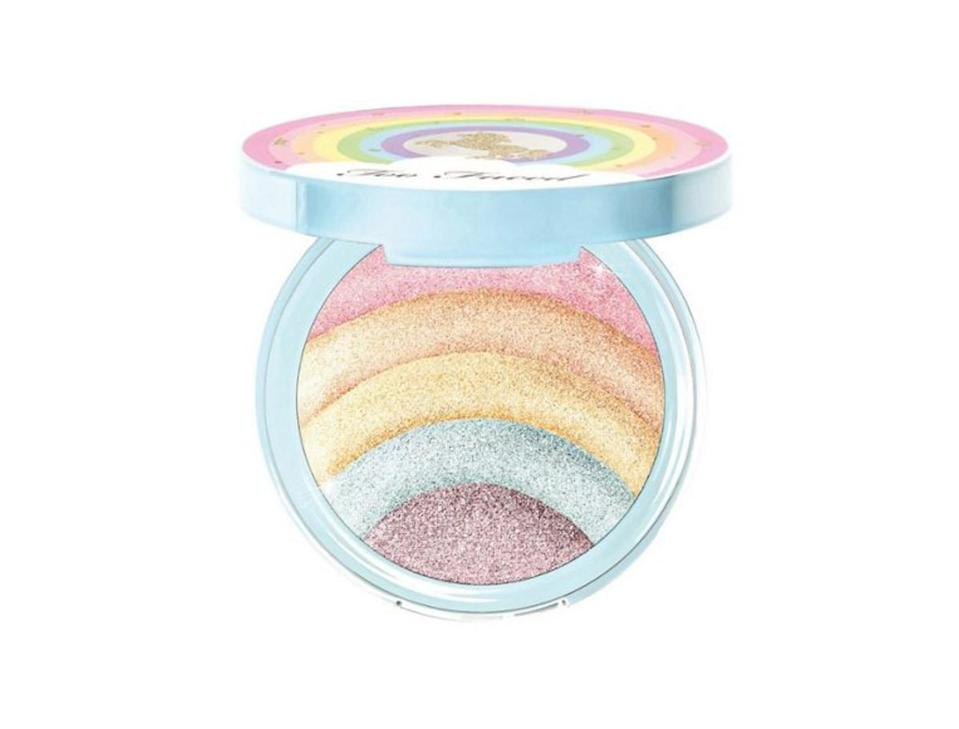 """<p>Rainbow highlighter isn't neccessarily one for the day-to-day makeup bag, but for festivals? Sure. Not an eyelid batted. <br><a rel=""""nofollow noopener"""" href=""""https://www.debenhams.com/webapp/wcs/stores/servlet/prod_10701_10001_123614942999?brand=Too-Faced&cat1=Beauty&cat2=Make-up&cat3=Highlighting-%26-contouring&CMP=SSH_2361363232_1069954923_56473038630&gclid=EAIaIQobChMI_ZbfxI_b2wIVirHtCh18XQMkEAQYASABEgLfVvD_BwE&gclsrc=aw.ds"""" target=""""_blank"""" data-ylk=""""slk:Buy here."""" class=""""link rapid-noclick-resp"""">Buy here.</a> </p>"""