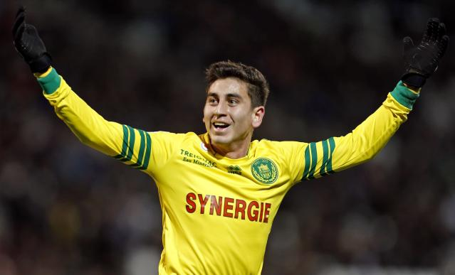FC Nantes' Alejandro Bedoya reacts after scoring against Olympique Marseille during their French Ligue 1 soccer match at the Velodrome stadium in Marseille, December 6, 2013. REUTERS/Jean-Paul Pelissier (FRANCE - Tags: SPORT SOCCER)