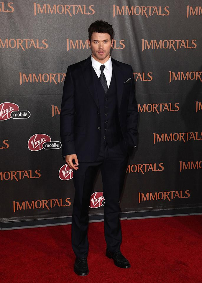 """<a href=""""http://movies.yahoo.com/movie/contributor/1808906080"""">Kellan Lutz</a> at the Los Angeles premiere of <a href=""""http://movies.yahoo.com/movie/1810150710/info"""">Immortals</a> on November 7, 2011."""