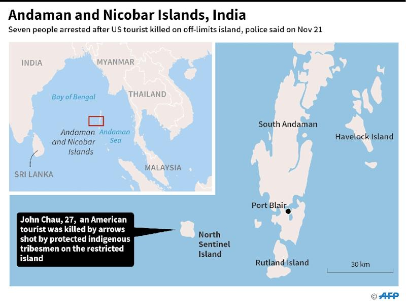 The isolated tribe lives on North Sentinel, one of the Andaman and Nicobar islands in the Bay of Bengal (AFP Photo/AFP)