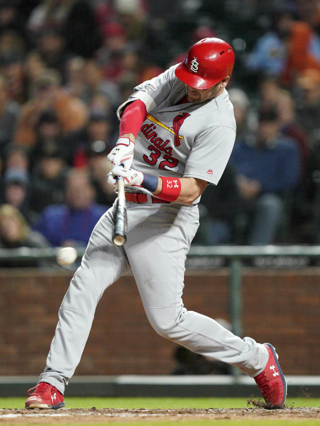 St. Louis Cardinals' Matt Wieters hits an RBI single against the San Francisco Giants during the fifth inning of a baseball game in San Francisco, Friday, July 5, 2019. (AP Photo/Tony Avelar)