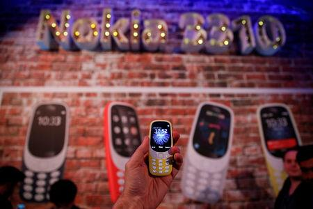 FILE PHOTO: A Nokia 3310 device is displayed after its presentation ceremony at Mobile World Congress in Barcelona, Spain, February 26, 2017. REUTERS/Paul Hanna/File Photo