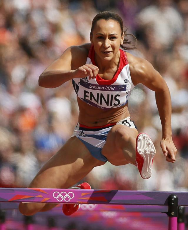 Jessica Ennis of Britain competes in her women's heptathlon 100m hurdles heat during the London 2012 Olympic Games at the Olympic Stadium August 3, 2012. REUTERS/Lucy Nicholson (BRITAIN - Tags: OLYMPICS SPORT ATHLETICS) Picture Supplied by Action Images PLEASE NOTE: FOR EDITORIAL USE ONLY