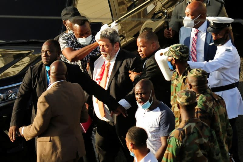 St. Vincent and the Grenadines Prime Minister Ralph Gonsalves is evacuated after an injury in Kingstown