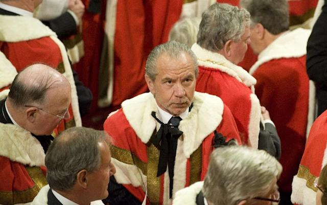 "Labour prime minister Gordon Brown made Alan Sugar, 71, a lord in 2009, but he left the party in 2015, citing its ""negative business policies"" (AFP Photo/PAUL EDWARDS)"