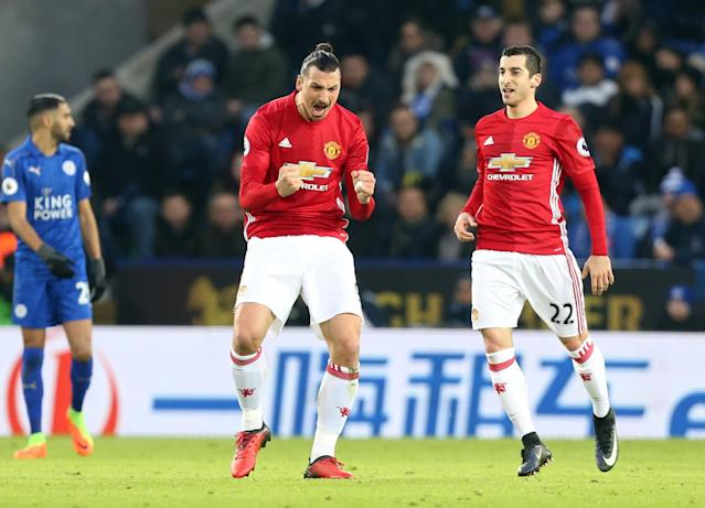 <p>Zlatan Ibrahimovic of Manchester United celebrates after he scores to make it 0-2 during the Premier League match between Leicester City and Manchester United at The King Power Stadium on February 5, 2017 in Leicester, England. </p>