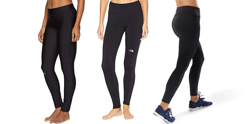 Warm workout tights are a must-have for exercising during the winter. (Photos: Zappos, Zappos, Reebok)