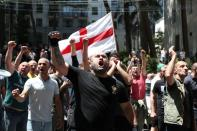 Anti-LGBT protesters take part in a rally ahead of the planned March for Dignity during Pride Week in Tbilisi