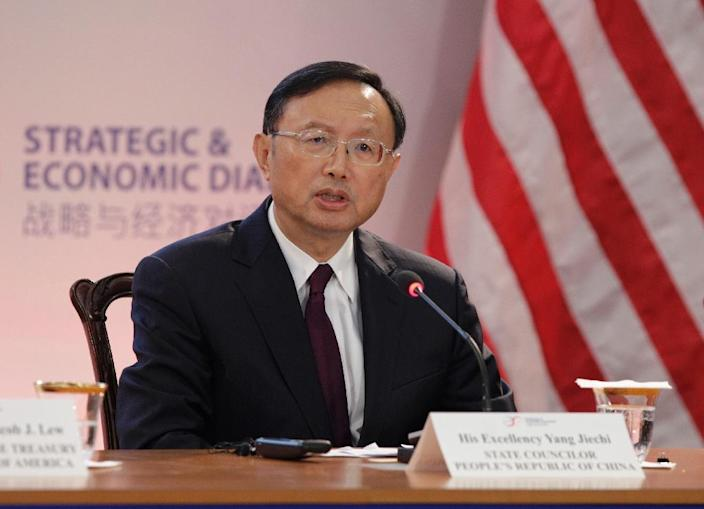 """Yang Jiechi vowed China would work with the United States """"in a spirit of openness, to properly address the relevant issues"""" (AFP Photo/Chris Kleponis)"""