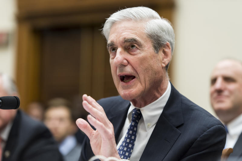 Former special counsel Robert Mueller testifies on Capitol Hill Wednesday. (Photo By Bill Clark/CQ Roll Call)