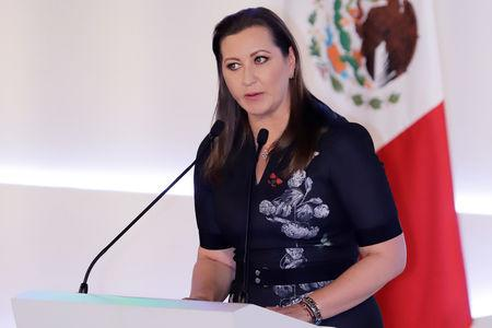 Martha Erika Alonso, governor of the state of Puebla, delivers a speech during her swearing-in ceremony in Puebla