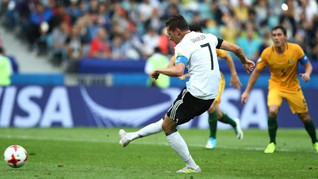 Lars Stindl, Julian Draxler and Leon Goretzka were on target as Germany got the better of Australia 3-2 at the Confederations Cup.
