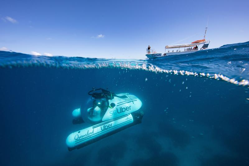 Uber submarine at a shipwreck on the Great Barrier Reef