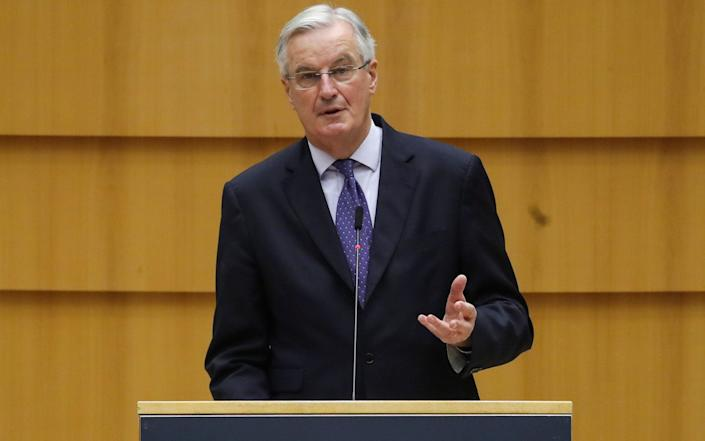 Michel Barnier addresses the European Parliament in Brussels - Reuters