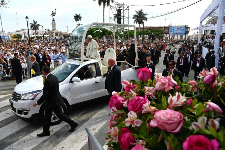 Pope Francis at the Cathedral of Trujillo in the northwestern Peruvian city