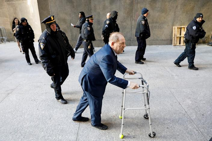 Film producer Harvey Weinstein arrives at New York Criminal Court for his sexual assault trial in the Manhattan borough of New York City, New York, U.S., January 9, 2020.