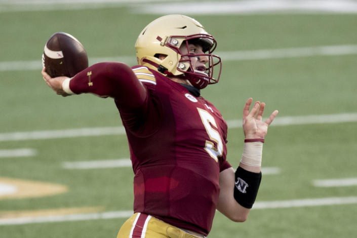 Boston College QB Phil Jurkovec had a fine first season for the Eagles after transferring from Notre Dame. (Photo by Maddie Malhotra/Getty Images)