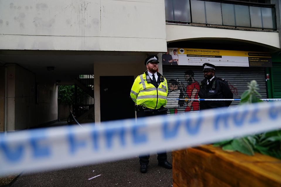 Police at the scene in Oval Place, Lambeth, on Tuesday morning (PA)