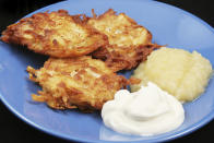 """<p>These sweet potato latkes are a welcome break from tradition. Prepare them just as you would classic potato latkes. <a href=""""https://www.yahoo.com/food/these-sweet-potato-latkes-are-a-great-addition-to-128870898086.html"""" data-ylk=""""slk:Get the recipe here.;outcm:mb_qualified_link;_E:mb_qualified_link;ct:story;"""" class=""""link rapid-noclick-resp yahoo-link"""">Get the recipe here.</a> <i>(Photo: Beth Blessing)</i><br></p>"""