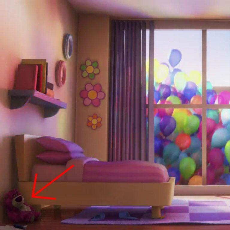 """<p>As the house in <em>Up</em> begins its ascent, it passes a childhood bedroom that not only contains the Luxo ball, it has a Lots-o'-Huggin' Bear on the floor near the bed. Lotso will go on to be the villain in <em>Toy Story 3.</em><br></p><p><strong>RELATED: <a href=""""https://www.goodhousekeeping.com/life/entertainment/g26868774/netflix-kids-shows/"""" rel=""""nofollow noopener"""" target=""""_blank"""" data-ylk=""""slk:20 Best Kids' Shows on Netflix for When You Need a Little &quot;Me Time&quot;"""" class=""""link rapid-noclick-resp"""">20 Best Kids' Shows on Netflix for When You Need a Little """"Me Time""""</a></strong></p>"""