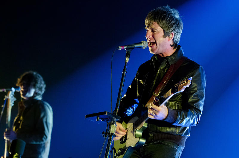 Noel Gallagher's High Flying Birds perform at Heineken Music Hall, Amsterdam, Netherlands, 18th April 2016. He is playing a Fender Telecaster guitar. (Photo by Paul Bergen/Redferns)