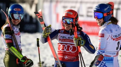 Razor edge: (From L) Mikaela Shiffrin finished just 0.01 behind joint winners Federica Brignone and Petra Vlhova in Sestriere