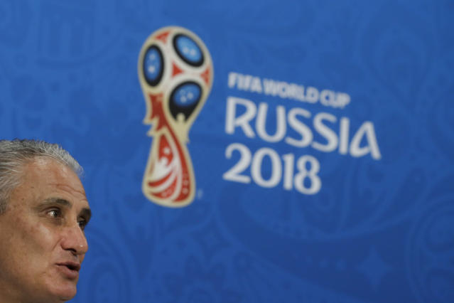 Brazil head coach Tite answer to questions during a press conference after Brazil's official training on the eve of the group E match between Brazil and Switzerland at the 2018 soccer World Cup in the Rostov Arena in Rostov-on-Don, Russia, Saturday, June 16, 2018. (AP Photo/Felipe Dana)