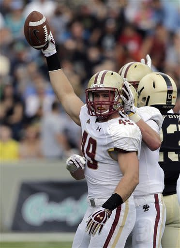 Boston College linebacker Steele Divitto (49) reacts after recovering an Army fumble during the first half of an NCAA college football game Saturday, Oct. 6, 2012, in in West Point, N.Y. (AP Photo/Mike Groll)