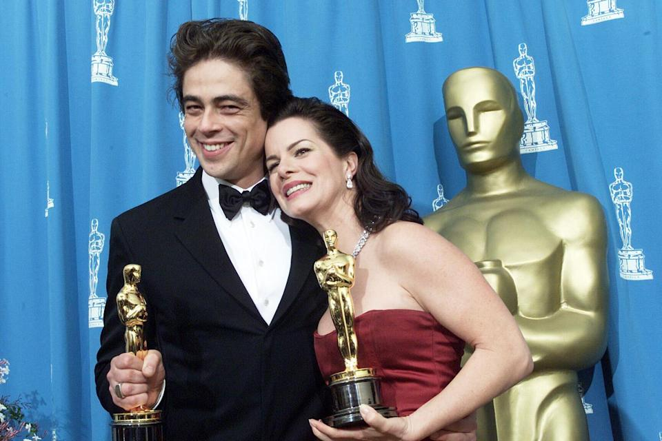 <p>Benicio Del Toro and Marcia Gay Harden celebrated after winning Best Supporting Actor and Best Supporting Actress. </p>
