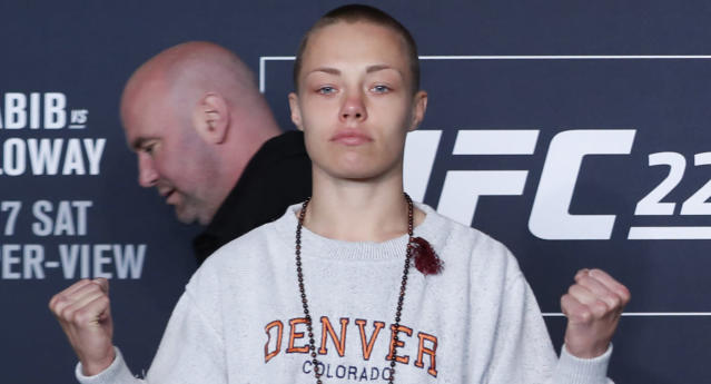 UFC women's strawweight champion Rose Namajunas poses during UFC 223's media day on Thursday, April 5, 2018. (AP Photo)