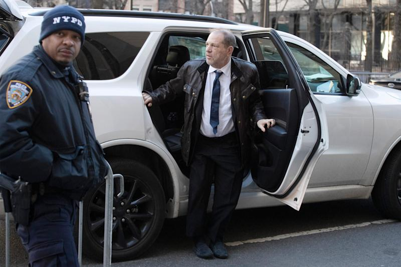 Harvey Weinstein arrives at a Manhattan courthouse to attend jury selection for his trial on rape and sexual assault charges, Friday, Jan. 17, 2020 in New York.