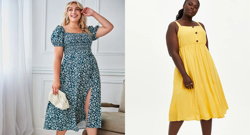 We're loving these plus-size dresses for summer. Images via Shein, Torrid.