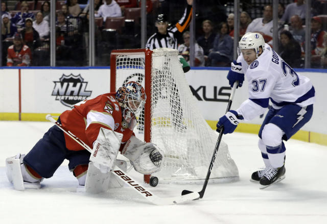 Florida Panthers goaltender James Reimer (34) stops a shot by Tampa Bay Lightning center Yanni Gourde (37) during the first period of an NHL hockey game, Sunday, Feb. 10, 2019, in Sunrise, Fla. (AP Photo/Lynne Sladky)