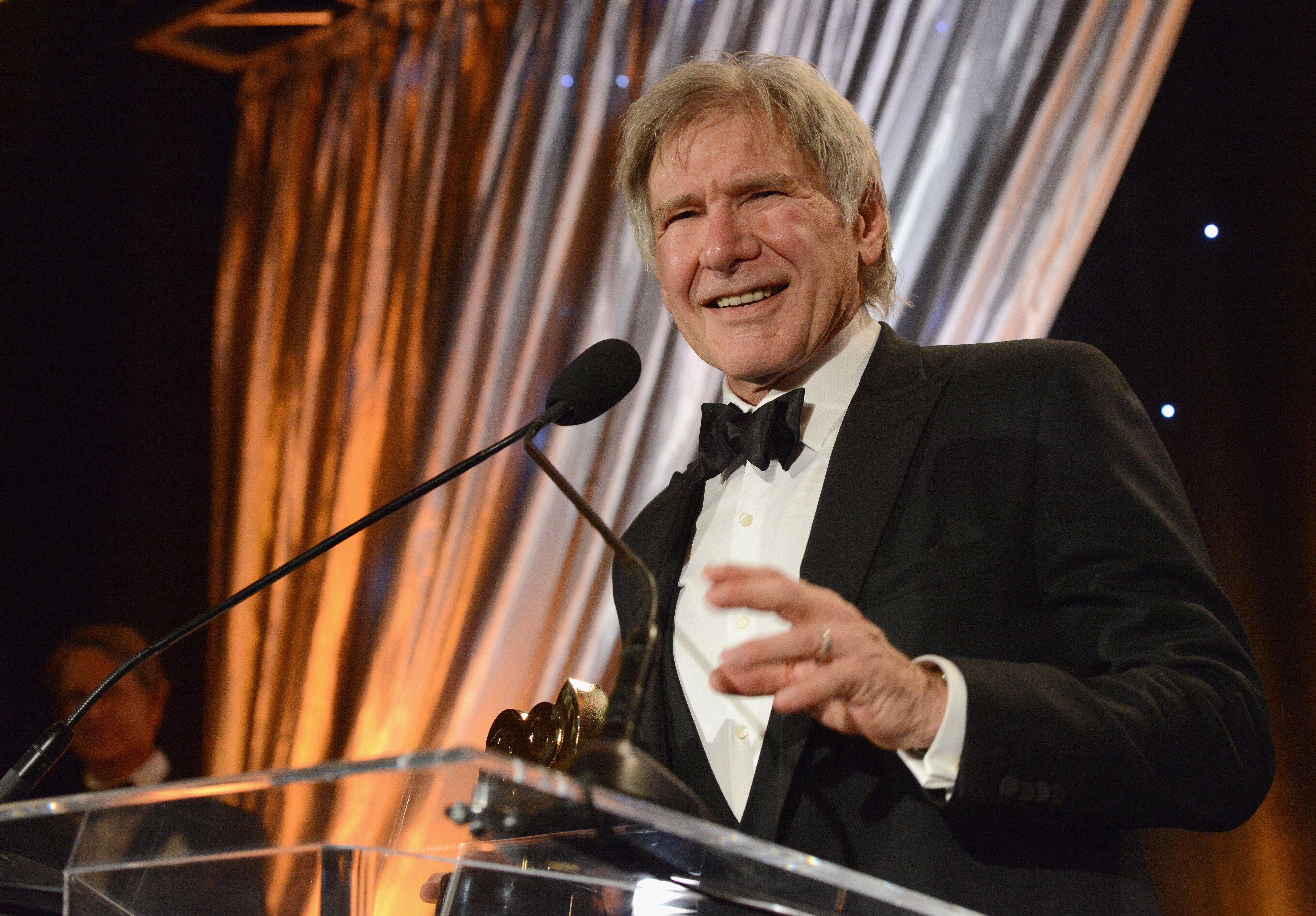 HOLLYWOOD, CA - JANUARY 26: Actor Harrison Ford accepts the SOC President's Award at The Society Of Camera Operators 40th Annual Lifetime Achievement Awards held at Loews Hollywood Hotel on January 26, 2019 in Hollywood, California. (Photo by Albert L. Ortega/Getty Images)