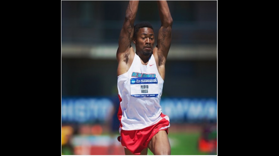 Floyd Ross competed in track and field at the University of New Mexico. He won honors in the triple jump and the long jump.