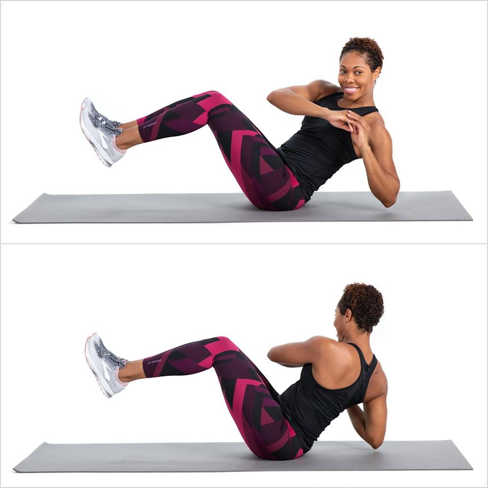<ul> <li>Sit on the ground and lean slightly back without rounding your spine at all. It is really important, and difficult, to keep your back straight, but don't let it curve.</li> <li>Pull your navel to your spine and twist to the left. Inhale through center and rotate to the right.</li> <li>Complete 15 reps.</li> </ul>