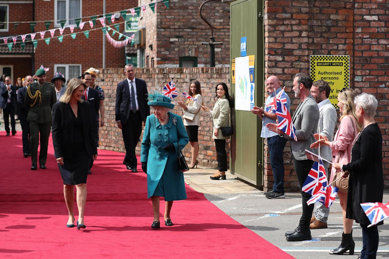 Queen Elizabeth II during a visit to the set of Coronation Street at the ITV Studios, Media City UK, Manchester. Picture date: Thursday July 8, 2021.