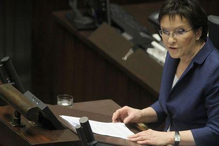 Poland's newly appointed Prime Minister Kopacz presents her policy plans in Parliament in Warsaw